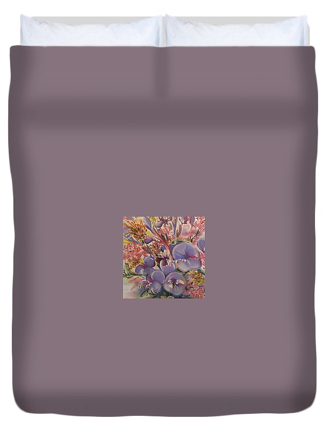 Violets Duvet Cover featuring the pastel Hearts Amor by Cheryl Miller