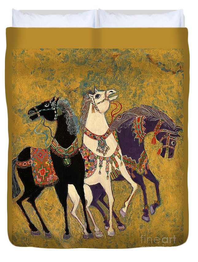 Three Duvet Cover featuring the painting 3 Horses by Laila Shawa