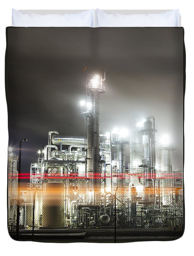 Industrial Duvet Cover featuring the photograph Industrial Smokestacks Of Central California by B Christopher