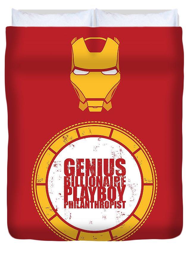 Captain America Duvet Cover featuring the digital art Iron Man by Geek N Rock