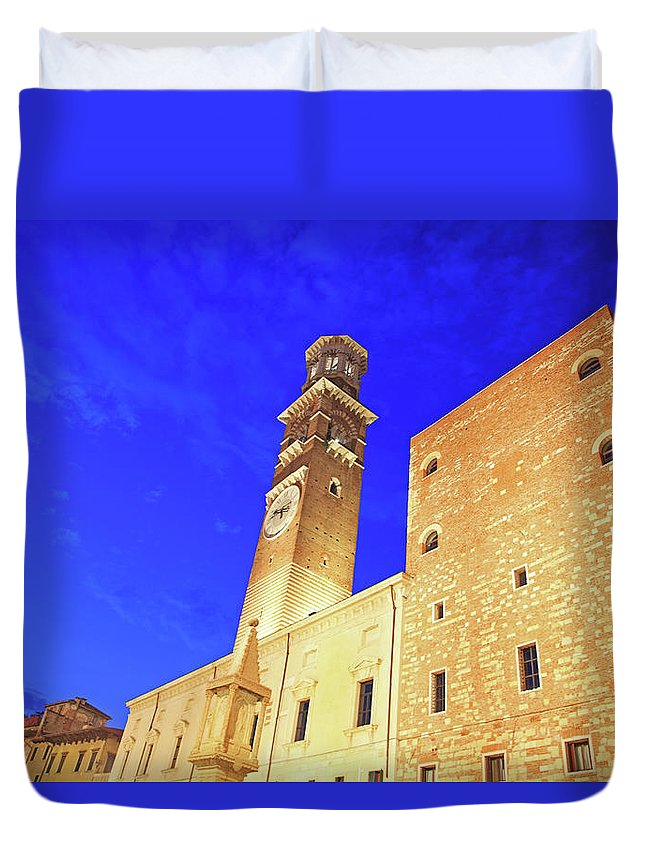 Clock Tower Duvet Cover featuring the photograph Italy, Verona by Hiroshi Higuchi