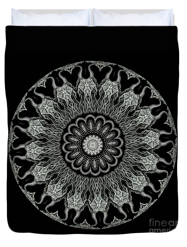 Ernst Haeckel Duvet Cover featuring the photograph Kaleidoscope Ernst Haeckl Sea Life Series Black And White Set On by Amy Cicconi