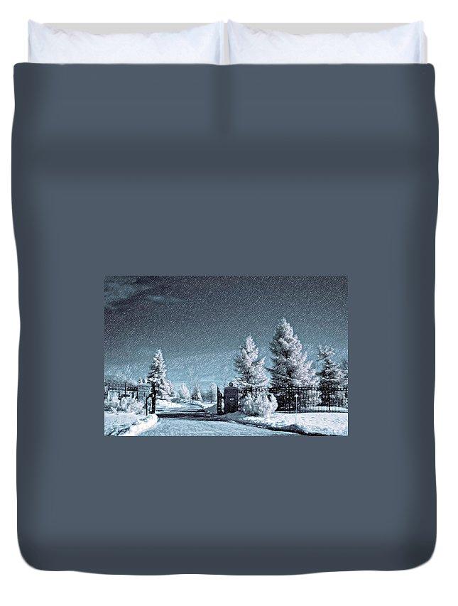 Snow Duvet Cover featuring the photograph Let It Snow by Steve Harrington