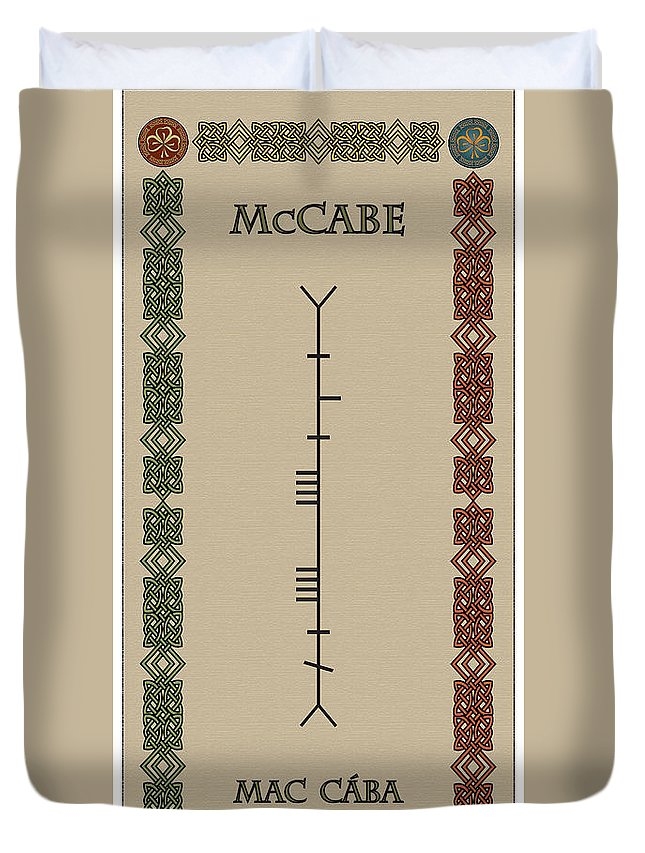 Maccabe Duvet Cover featuring the digital art Maccabe Written In Ogham by Ireland Calling