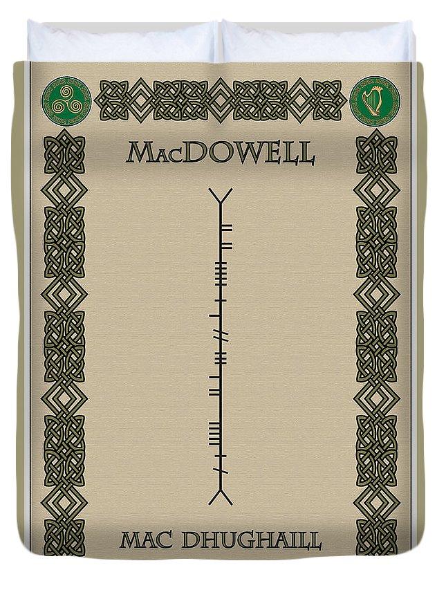 Macdowell Duvet Cover featuring the digital art Macdowell Written In Ogham by Ireland Calling