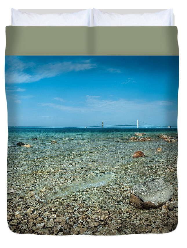 Lake Duvet Cover featuring the photograph Mackinac Bridge by Larry Carr