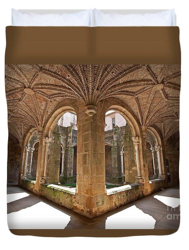 Cloister Duvet Cover featuring the photograph Medieval Monastery Cloister by Jose Elias - Sofia Pereira