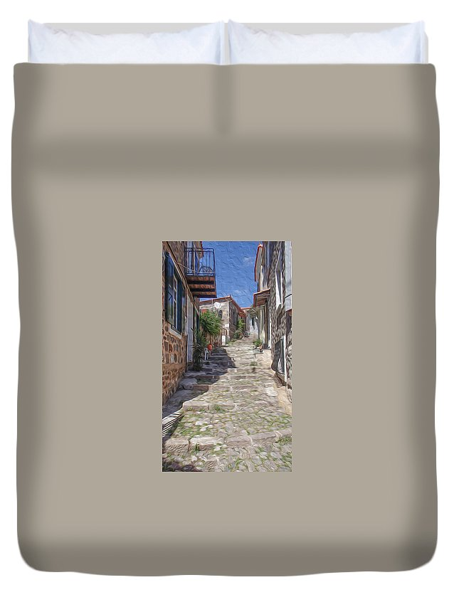 Aegean Duvet Cover featuring the digital art Molyvos by Roy Pedersen