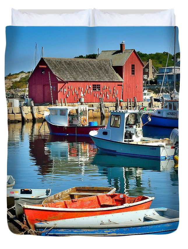 Rockport Duvet Cover featuring the photograph Motif Number One Rockport Lobster Shack Maritime by Jon Holiday
