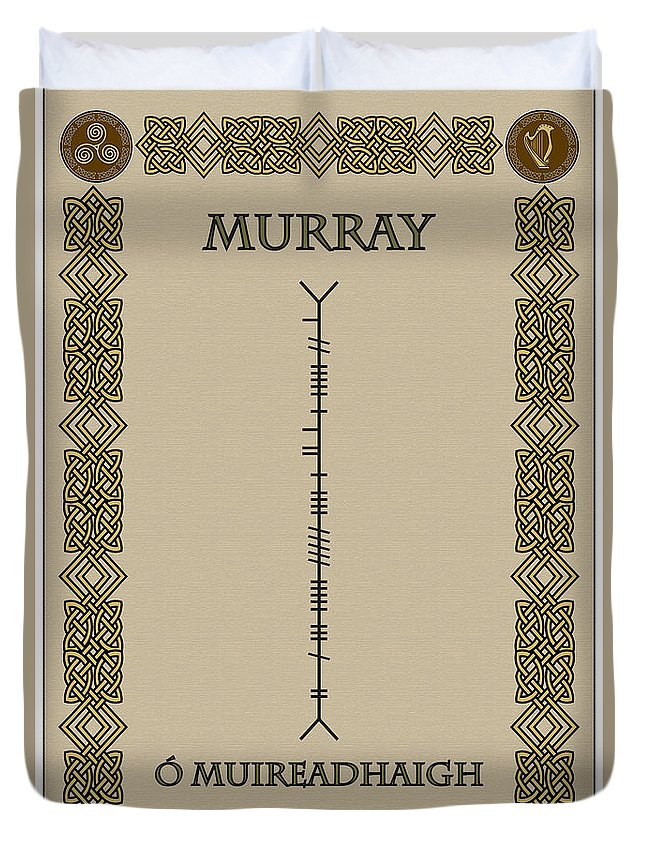 Murray Duvet Cover featuring the digital art Murray Written In Ogham by Ireland Calling