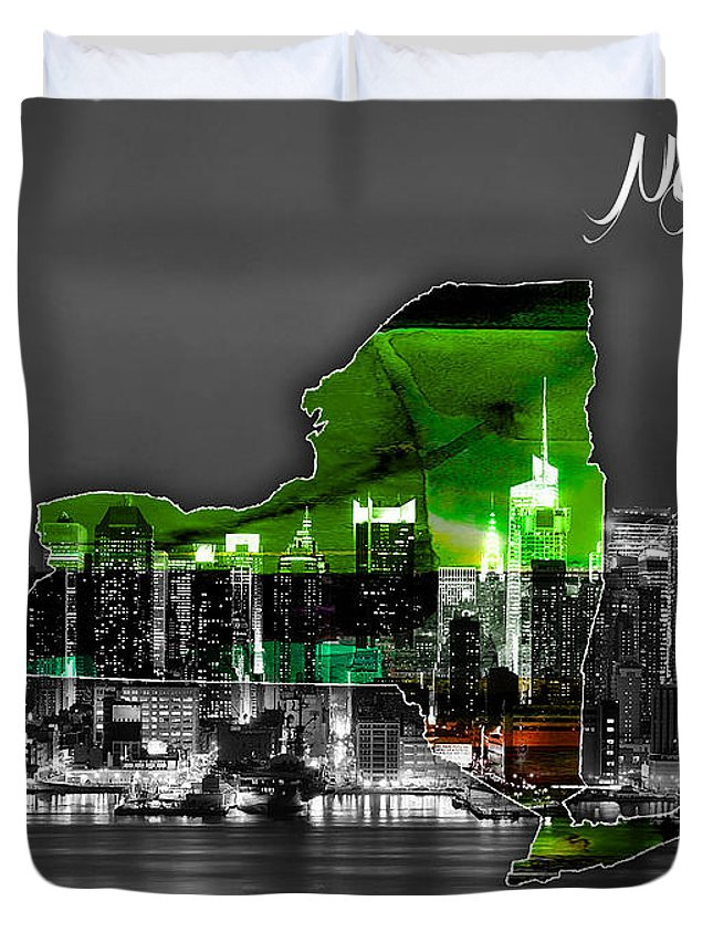 New York Art Duvet Cover featuring the mixed media New York Map And Skyline Watercolor by Marvin Blaine