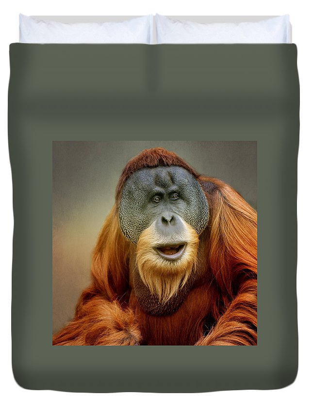 Animal Duvet Cover featuring the photograph Orang Utan by Heike Hultsch