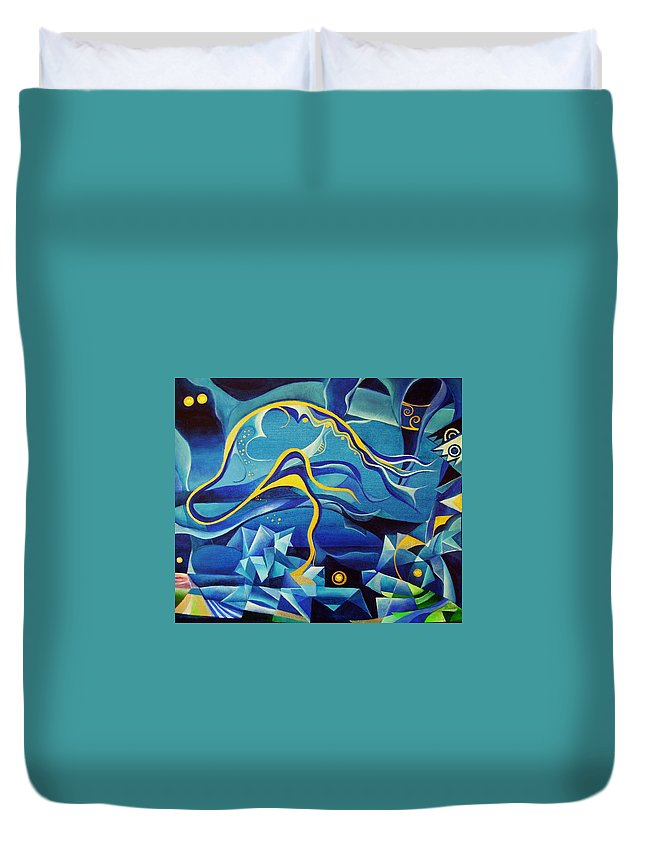 Orpheus Eurydike Greek Mth Claudio Monteverdi Music Abstract Acrylic Duvet Cover featuring the painting Orpheus And Eurydike by Wolfgang Schweizer