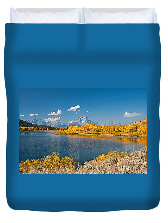 Autumn Duvet Cover featuring the photograph Oxbow Bend Grand Teton National Park by Fred Stearns