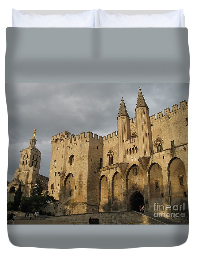 Palace Duvet Cover featuring the photograph Palace Of The Pope - Avignon by Christiane Schulze Art And Photography