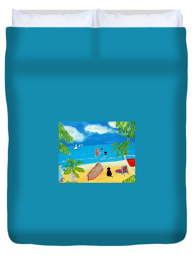 Acrylic On Canvas Duvet Cover featuring the painting Palmy Beach by Aat Kuijpers
