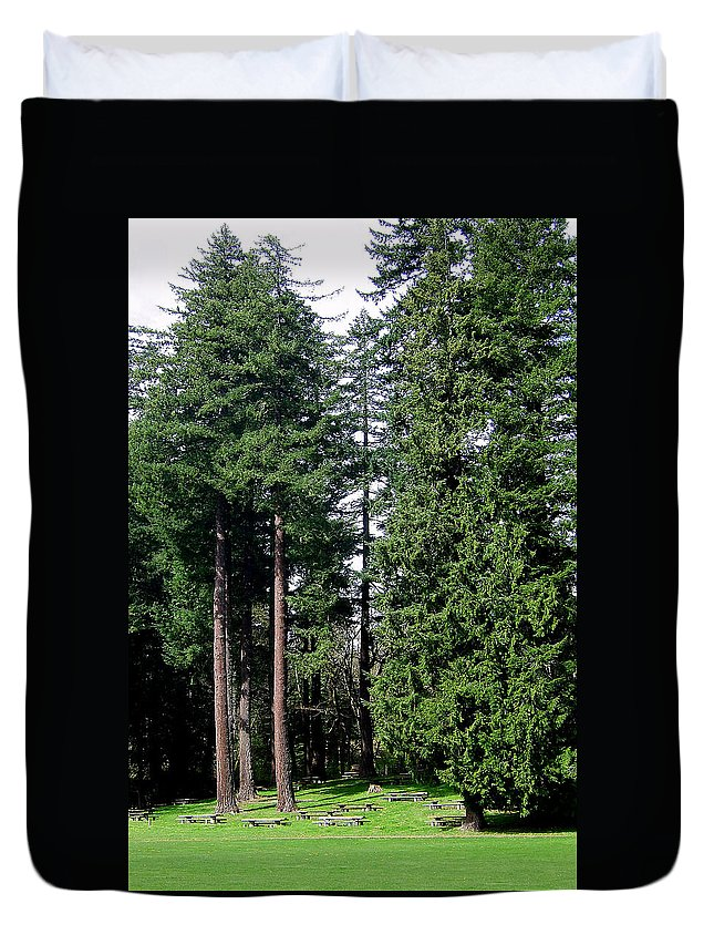 Bloom Duvet Cover featuring the photograph Picnic With The Giants by J D Owen