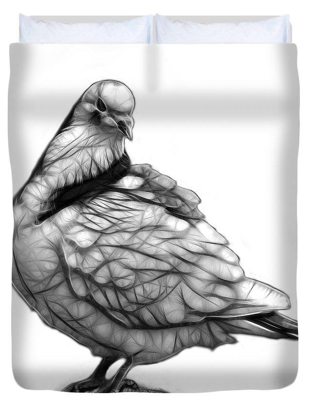 Pigeon Art Duvet Cover featuring the digital art Pink Pigeon Pop Art 5516 - Fs - Bb - Modern Animal Artist James by James Ahn