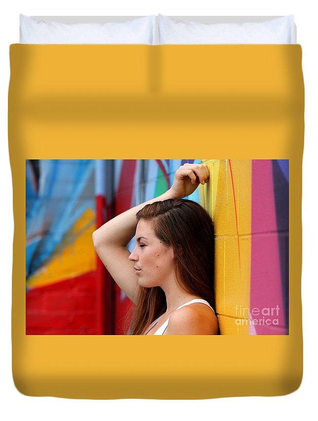 Closeup Duvet Cover featuring the photograph Portrait Of A Woman by Henrik Lehnerer