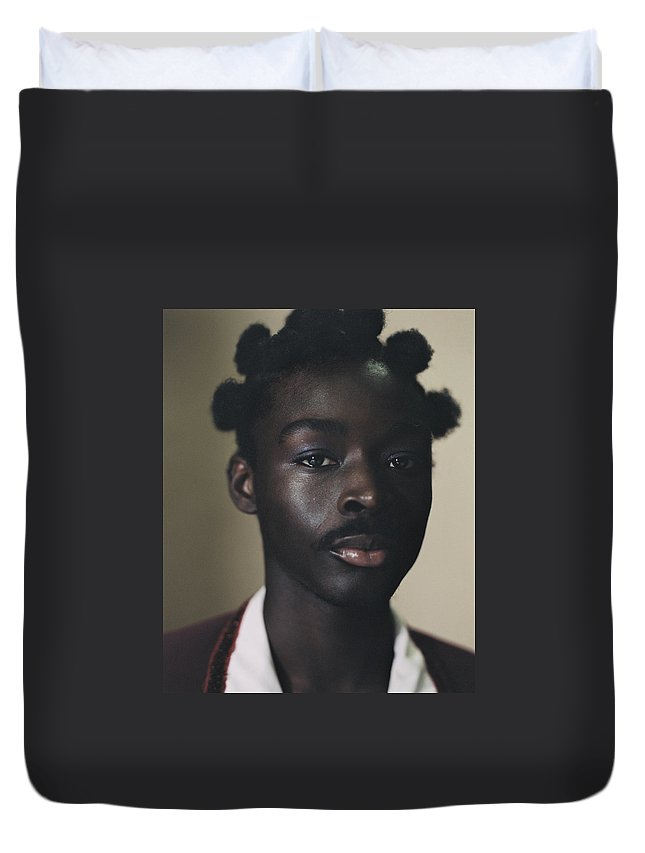 Handsome People Duvet Cover featuring the photograph Portrait Of Young Person Holding by Campbell Addy