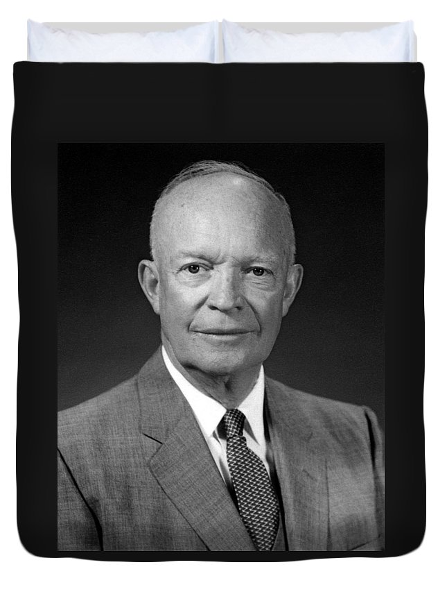President Eisenhower Duvet Cover featuring the photograph President Dwight Eisenhower - Four by War Is Hell Store