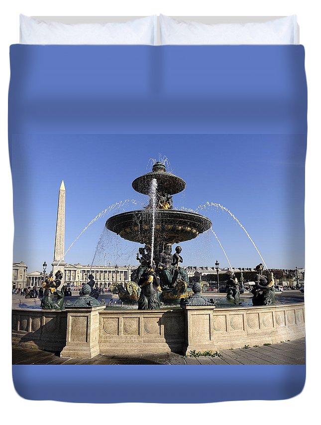 Paris Duvet Cover featuring the photograph Public Fountain At The Place De La Concorde In Paris France by Richard Rosenshein