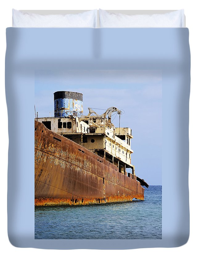 Boat Duvet Cover featuring the photograph Shipwreck On Lanzarote by Karol Kozlowski