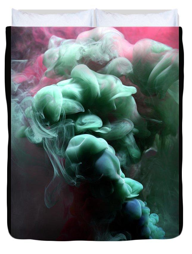 Black Background Duvet Cover featuring the photograph Smoke by Henrik Sorensen