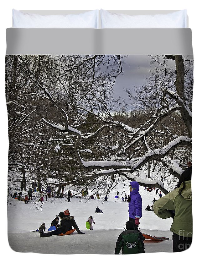 Snowboard Duvet Cover featuring the photograph Snowboarding In Central Park 2011 by Madeline Ellis