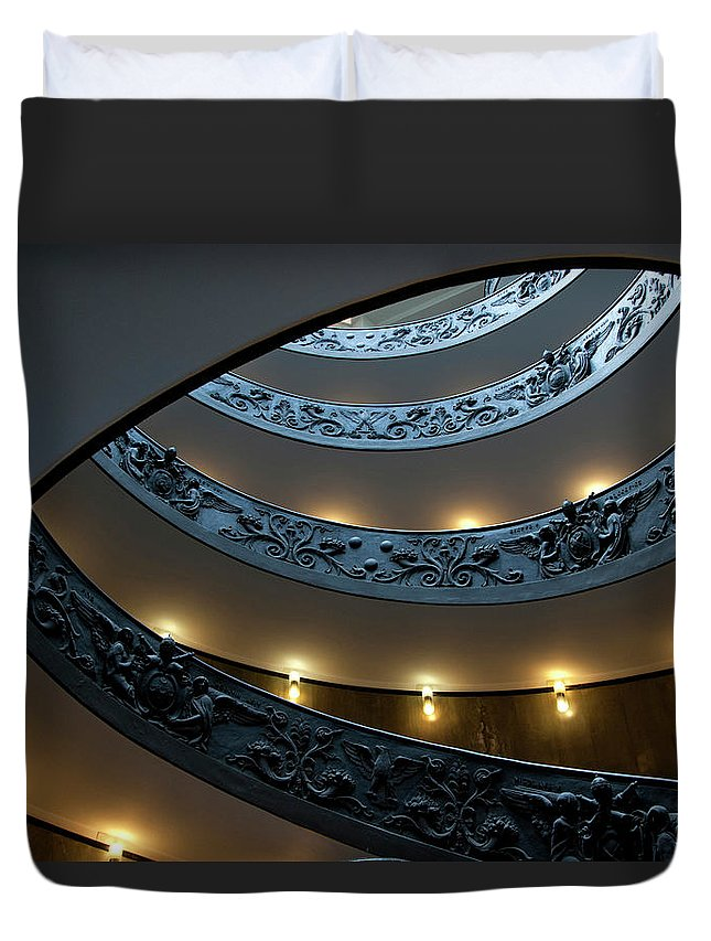 Italian Culture Duvet Cover featuring the photograph Spiral Staircase At The Vatican by Mitch Diamond