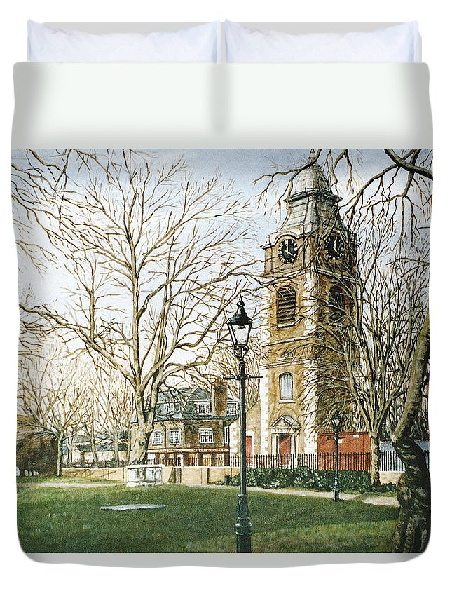 St Johns Duvet Cover featuring the painting St Johns Church Wapping London by Mackenzie Moulton