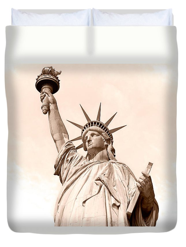 American Duvet Cover featuring the photograph Statue Of Liberty by Luciano Mortula