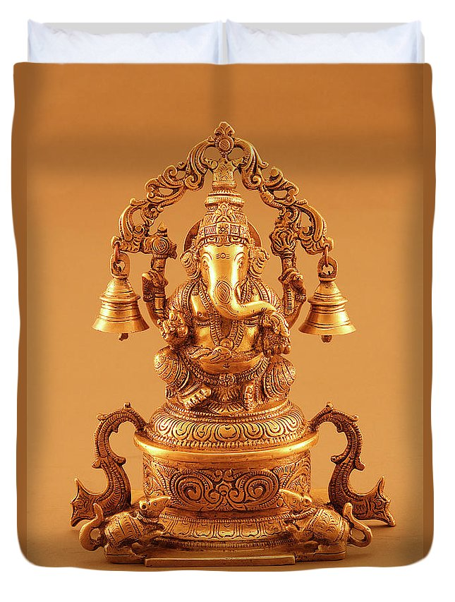 Hinduism Duvet Cover featuring the photograph Statue Of Lord Ganesh by Visage