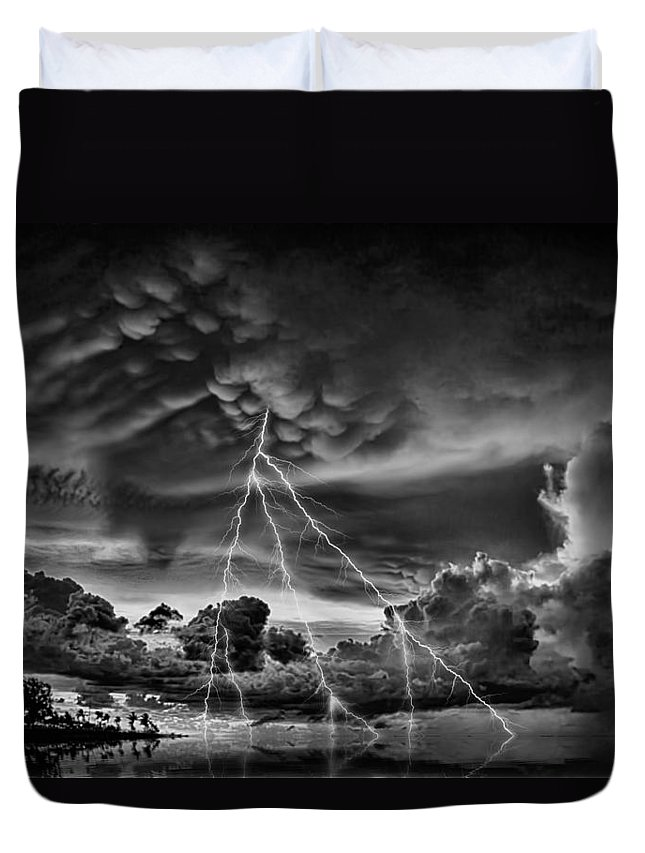 Lightning Duvet Cover featuring the photograph 3 Strikes by Douglas Barnard