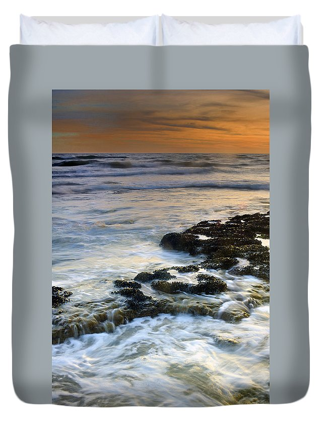 Sunset Duvet Cover featuring the photograph Sunset At The Mediterranean Sea by Guido Montanes Castillo