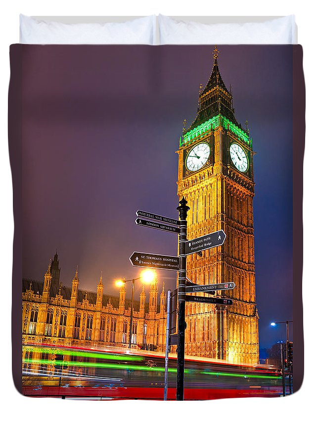 Architecture Duvet Cover featuring the photograph The Big Ben - London by Luciano Mortula