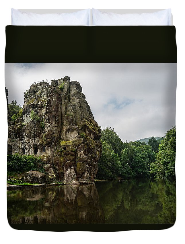 North Rhine-westphalia Duvet Cover featuring the photograph The Externsteine by TouTouke A Y