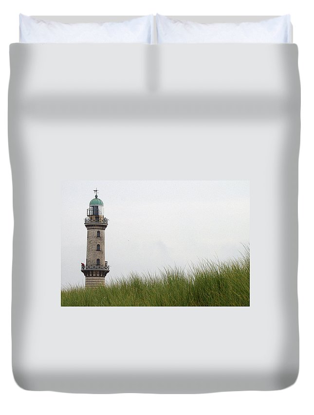 Warnemunde Lighthouse Duvet Cover featuring the photograph The Lighthouse by Richard Rosenshein