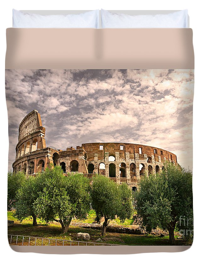 Column Duvet Cover featuring the photograph The Majestic Coliseum - Rome by Luciano Mortula
