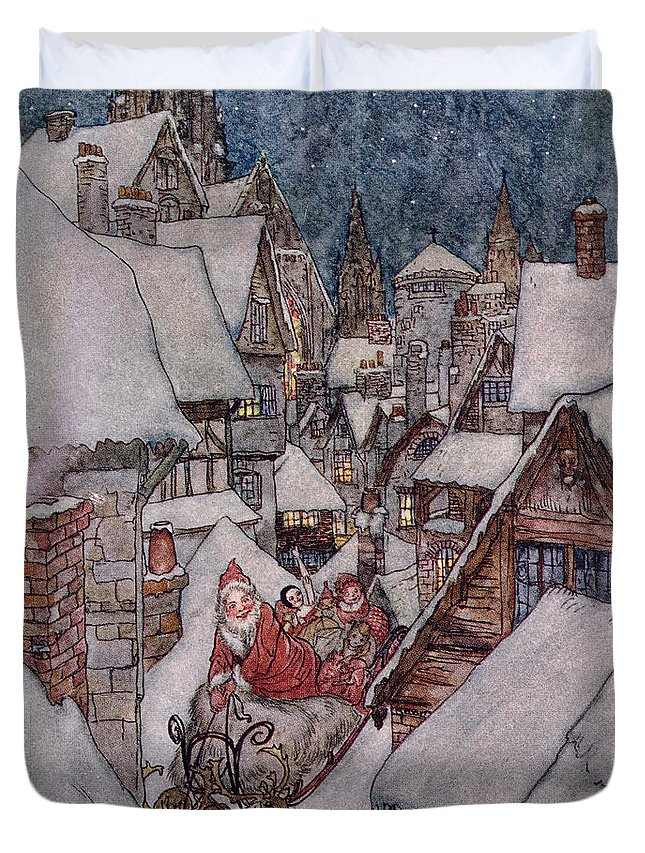 Christmas Illustrations Duvet Cover featuring the drawing 'the Night Before Christmas by Arthur Rackham