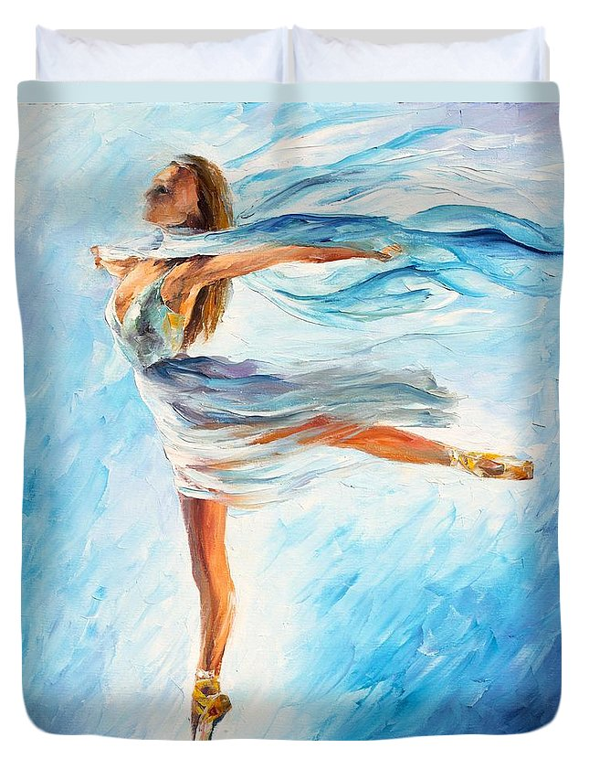 Afremov Duvet Cover featuring the painting The Sky Dance by Leonid Afremov