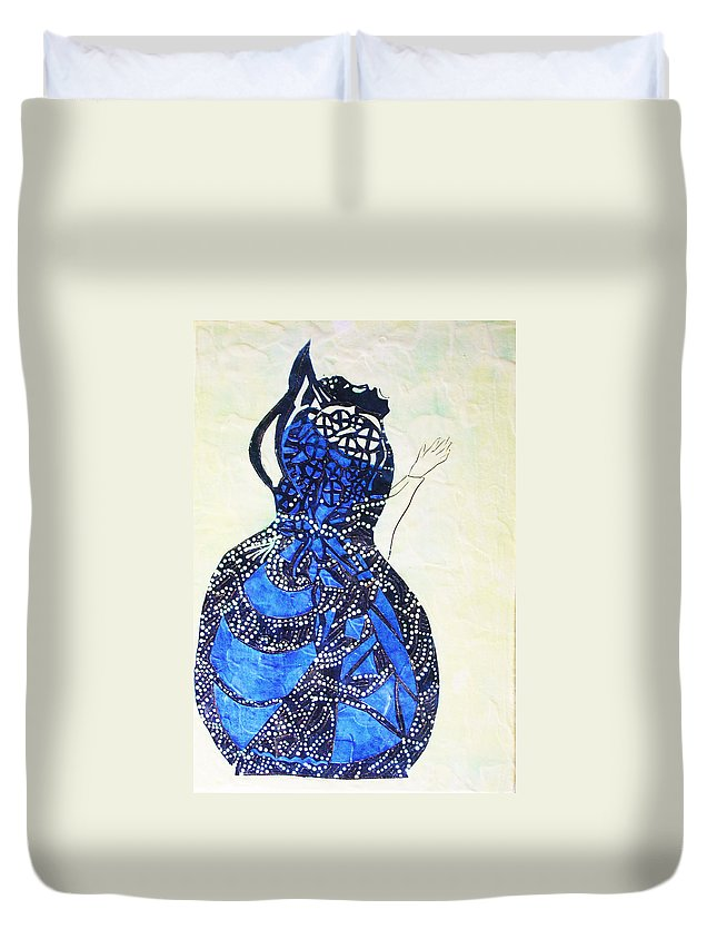 Jesus Duvet Cover featuring the painting The Wise Virgin by Gloria Ssali