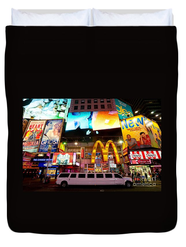 Angle Duvet Cover featuring the photograph Times Square - New York City by Luciano Mortula