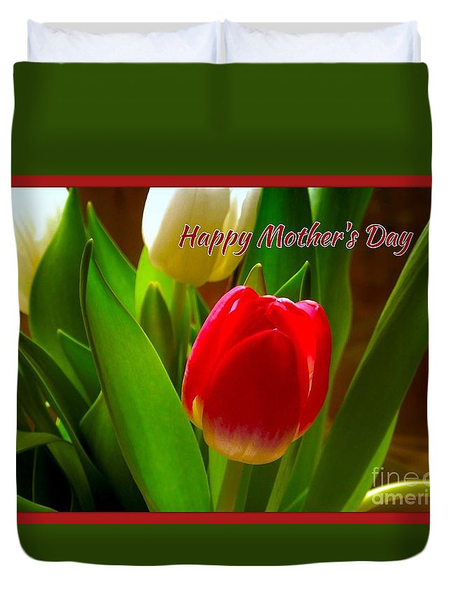 Tulips Duvet Cover featuring the photograph 3 Tulips For Mother's Day by Joan-Violet Stretch
