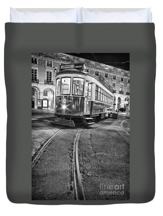 Lisbon Duvet Cover featuring the photograph Typical Lisbon Tram In Commerce Square by Jose Elias - Sofia Pereira
