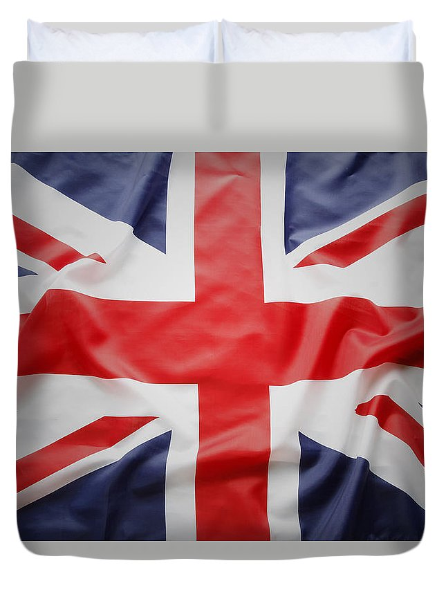 British Flag Duvet Cover featuring the photograph Uk Flag by Les Cunliffe