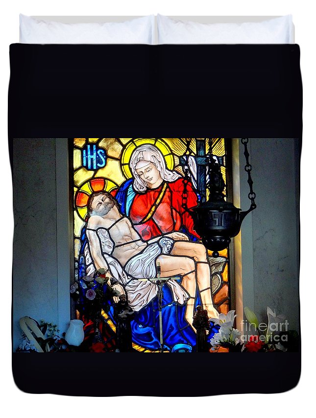 Stained Glass Duvet Cover featuring the photograph Untitled by Ed Weidman
