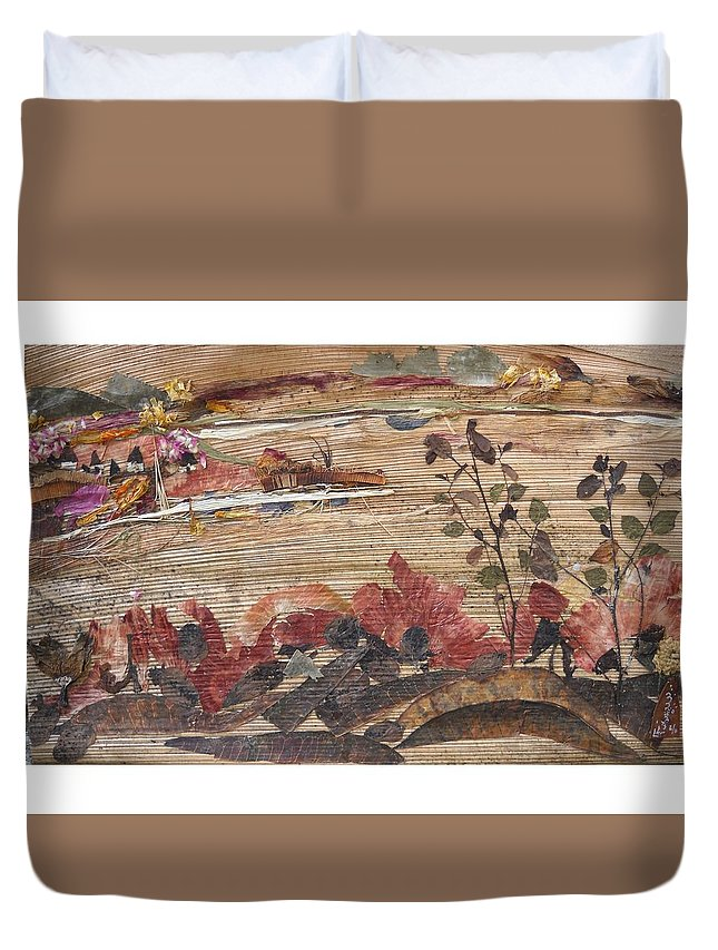 Landscape Duvet Cover featuring the mixed media Village Near Pond by Basant Soni
