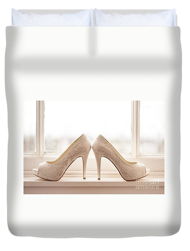 Wedding Duvet Cover featuring the photograph Wedding Shoes by Lee Avison