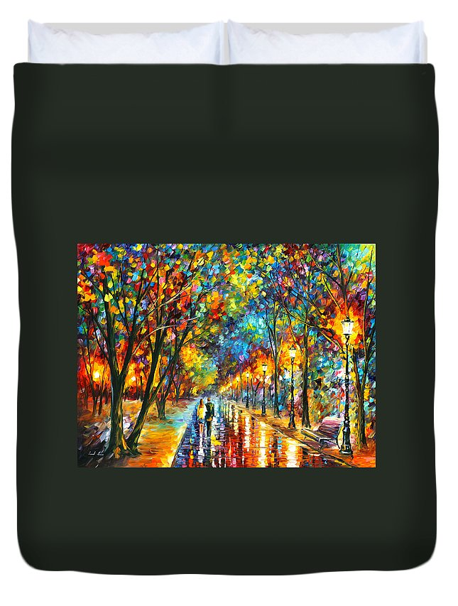 Park Duvet Cover featuring the painting When Dreams Come True by Leonid Afremov